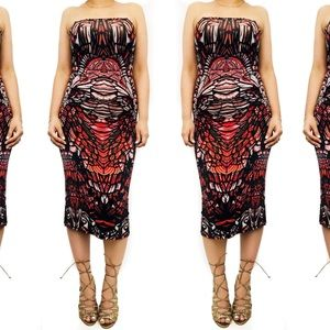 Topshop red print  strapless dress